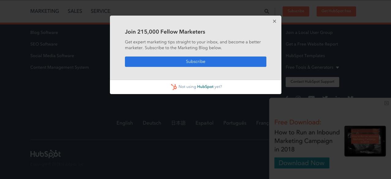 ways to grow B2B email marketing lists - popups