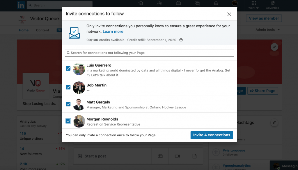 How To Gain Company LinkedIn Followers - Invite LinkedIn connections