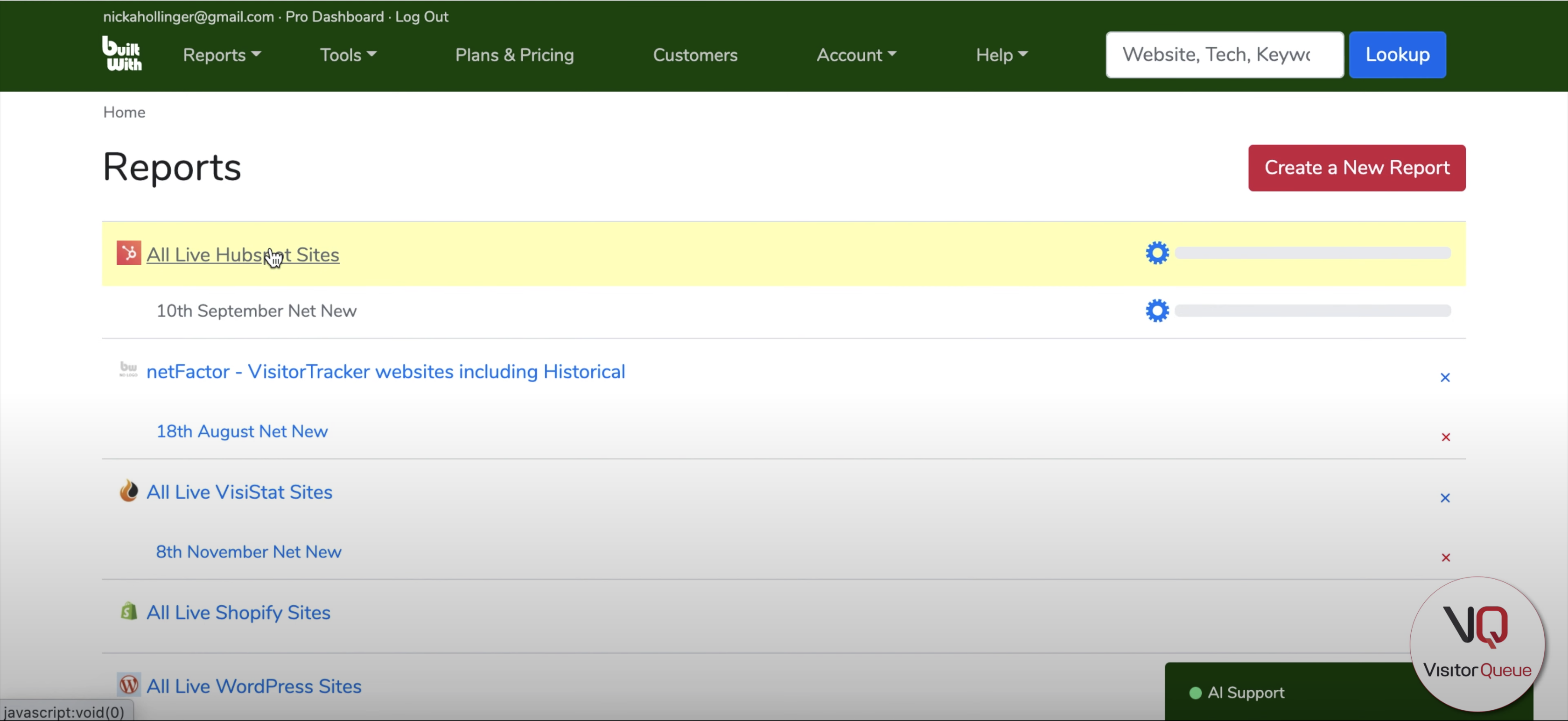 Using BuiltWith to Build a List of Your Competitor's Clients - reports on BuiltWith