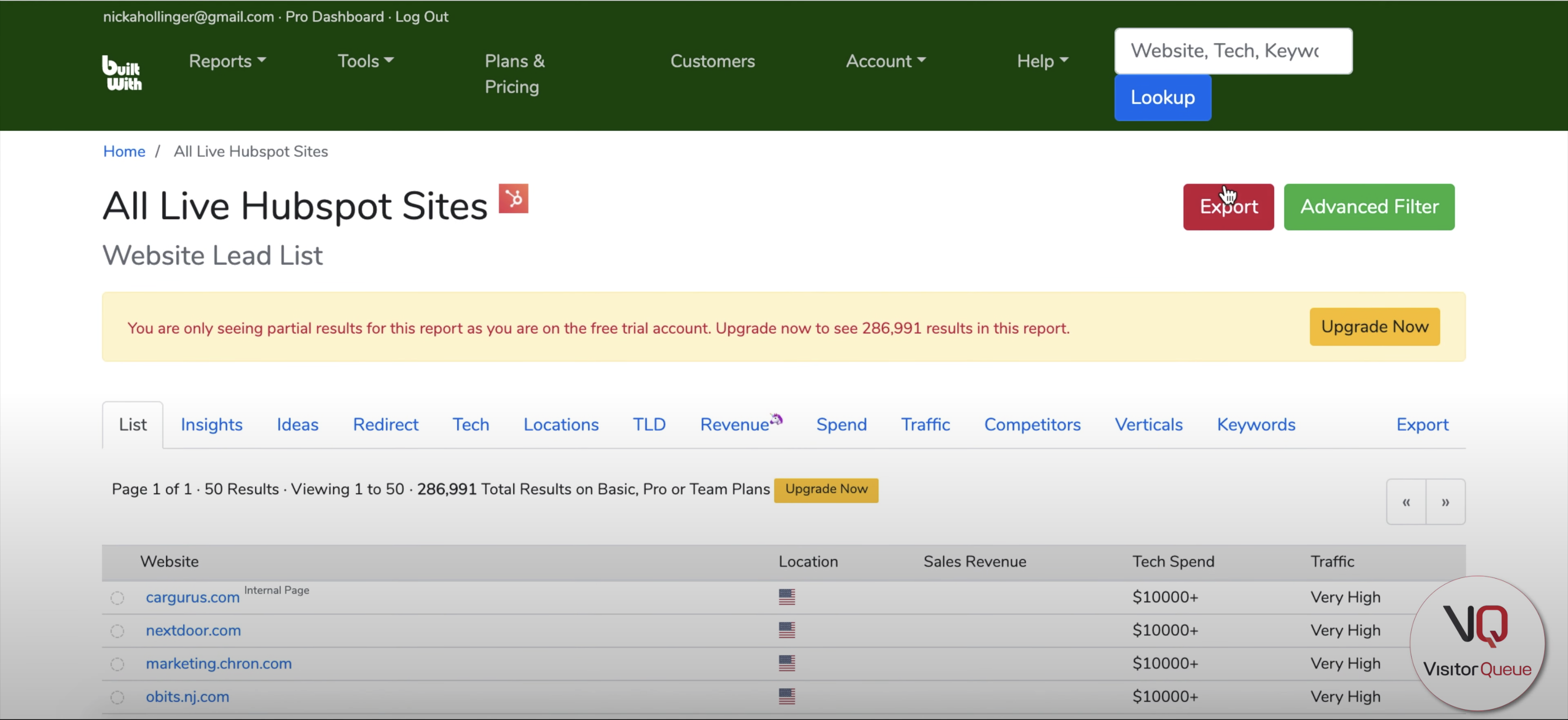 Using BuiltWith to Build a List of Your Competitor's Clients - Export report on BuiltWith