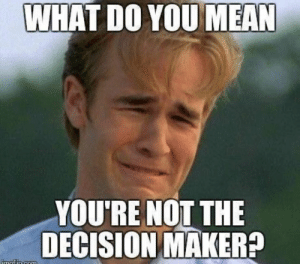 sales jokes - What do you mean you're not the decision maker?